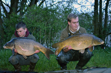 Adam & Harry with a brace of commons, Lees Lake, France, 2016. Adam's common weighing 24lb 13oz.