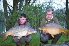 Adam & Harry with a brace of carp, Lees Lake, France, 2016. Adam's carp weighing 28lb.